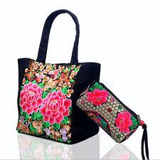 Women's Retro Ethnic Embroidery Carrier Bag Canvas Tote Handbag + Coin Purse