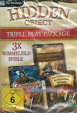 CD-ROM + Hidden Object + Tripple Play Package + 3 Wimmelbild Spiele + Win 8