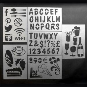 Re-usable Stencils. Holiday Themed Stencils. Cafe Stencils. Alphabet Stencil