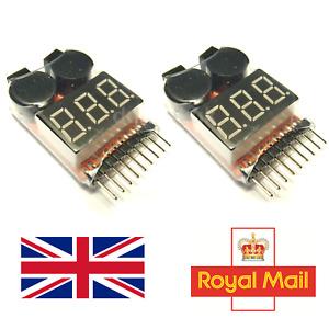 2x Lipo Low Battery Voltage Alarm 1S-8S Buzzer Indicator RC Checker Tester UK