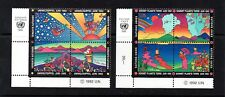 2 NICE QUARTERBLOCKS OF ONITED NATIONS, (ANIMATION),1992, MNH**