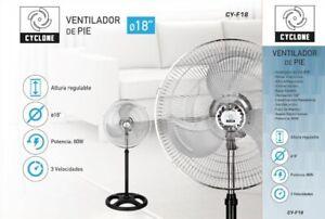 Ventilador de pie 18 pulgadas Cyclone 3 velocidades Motor silencioso 80W
