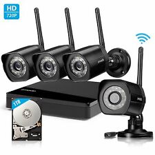 Zmodo 4CH HDMI NVR 4 1280*720p Wireless IR Home Security Camera DIY Kit 1TB HDD
