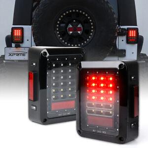 Xprite Pair LED Tail Lights Rear Brake Lamp Reverse for 07-18 Jeep Wrangler JK