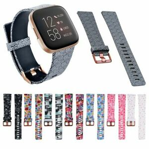 Silicone Bracelet Watch Band Buckle Flower Floral Print Strap For Fitbit Versa 2