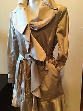 NEW COLE HAAN BEIGE GOLD RUFFLE RAIN TRENCH COAT JACKET SIZE L