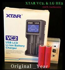 2 Lg He2 18650 2500mAh 35A Rechargeable Batteries & Xtar Vc2 Charger Combo