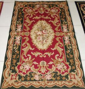 3'x5' Vintage Antique Design Deep Green Red Rose French Design Aubusson Rug
