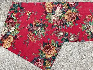 RARE! 1 RALPH Lauren *AYLESBURY Curtain VALANCE Vintage RED Barkcloth FLORAL