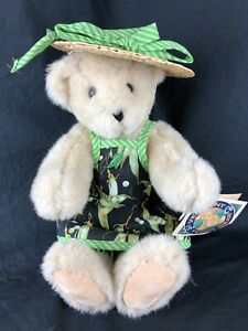 """Vermont Teddy Bear Jointed Plush Cream Color 12"""" Apron and Hat Corn"""