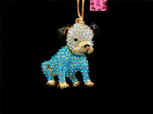 Betsey Johnson Enamel Rhinestone Bulldog Dog Pendant Sweater Chain Necklace
