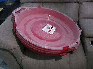 "Lot of (3) NEW 24"" HOMZ Holiday Wreath Storage Box Case HARD PLASTIC Sterilite"