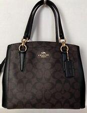 New Coach 39741 Minetta Signature PVC with Leather details handbag Brown / Black