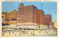 Atlantic City New Jersey 1920s Postcard Hotel Chelsea Ambassador & Ritz Carlton