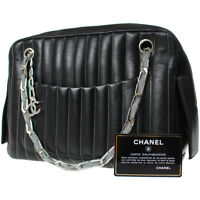 d5aaac9451dd6e CHANEL Mademoiselle Chain Shoulder Bag Black Leather Vintage Italy Auth  #Z139 M