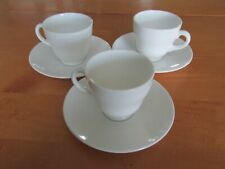 Set of 3 Plain White Traditional Wedgwood Demitasse Footed Cups with Saucers