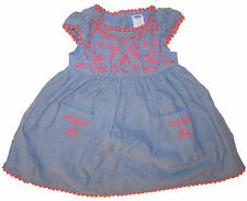 Old Navy blue dress baby girl's sz 3-6 months embroidered chambray