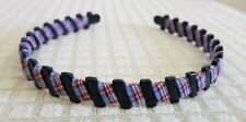 FABRIC PLAID HEADBAND BLUE AND RED HAIR ACCESSORY