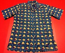 EUC Reyn Spooner Mens Hawaiian Blue Fish Shirt Fishing Vacation Casual Large