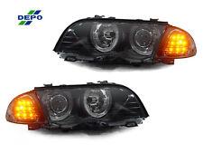 DEPO 99-01 BMW E46 4DR/5DR HALO HEADLIGHTS + SMOKED LENS AMBER LED CORNER LIGHTS