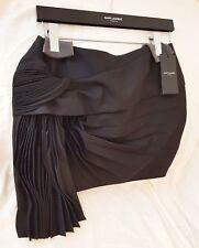 SAINT LAURENT Mini Skirt Black Gabardine Virgin Wool ($2980 Retail) - US 10