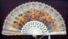 1800's Antique Vintage Victorian Hand Painted Celluloid & Lace Folding Hand Fan