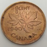 1940 Canada One 1 Cent Penny Copper Circulated Canadian Coin F890