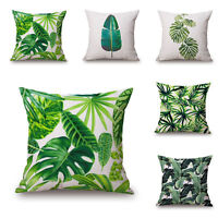 Tropical Plant Leaf Pillow Case Cotton Linen Sofa Bed Cushion Cover Home Decor