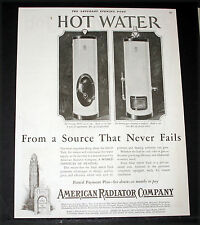 1927 OLD MAGAZINE PRINT AD, AMERICAN RADIATOR HOT WATER HEATERS WITH ARCO TANKS!
