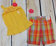 NWT 6 Gymboree Aloha Sunshine yellow flower tunic top, plaid shorts & pony-o set