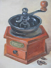 """Oil Painting Vintage Wooden Coffee Mill Collectible Art 5"""" X 6,5"""" inches"""