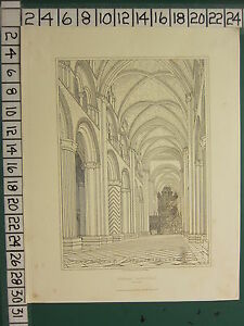1841 DATED ANTIQUE PRINT ~ DURHAM CATHEDRAL THE NAVE ~ R. W. BILLINGS