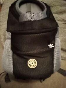 Black & Grey Pet Dog Sport Travel Carrier Mesh Front Backpack Shoulder Bag