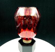 "VICTORIAN CRANBERRY DIAMOND OPTIC BRASS COLLAR 7 1/4"" OIL LAMP SHADE"