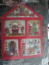 Bucilla Christmas House Hutch Cross Stitch Kit-7x10 inches- Includes Wood Hutch