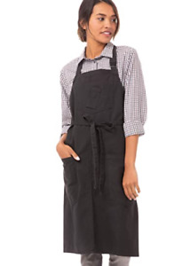 "Chef Works Urban Collection Rockford Bib Apron OS 34""X30"" Steel Grey"