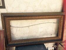 """Large Antique Carved Leaf Frame Gold-Tone Wood Gesso 34"""" x 14"""" No Glass TLC"""