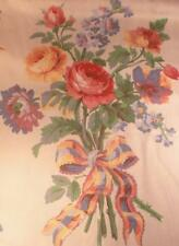 Vtg Heavy Cotton Drapery Fabric P Kaufmann Cream Pink Rose Floral 6.5 yds