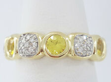 David Yurman Chiclet 18K Yellow Gold Diamond & Citrine Eternity Band Ring Size 7