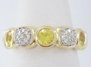 2.25ct David Yurman Chiclet 18K Yellow Gold Diamond & Sapphire Eternity Ring Sz7