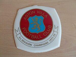 A Vintage Aston Villa Plastic Car Sticker -3rd Division Champions 1971-72  RARE!