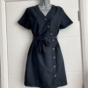 Esprit Shift Short Dress 10 Organic Cotton Linen Tie Waist Button Front Office