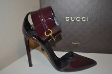 GUCCI URSULA Burgundy Pointy Toe Gold Horsebit Ankle Cuffed Caged Pump Shoe S 40