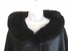 New Katherine Kelly Black Wool/Cashmere Bend Hooded Fox Fur Lined Cape L/XLarge