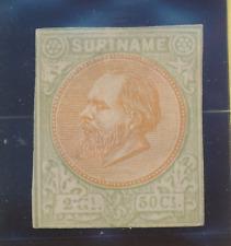 Surinam Stamp Scott #16, Unused, No Gum, Imperf (Or Cut Down)