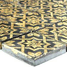 Schiefermosaik Feinsteinzeugfliesen Blattgold Schwarz