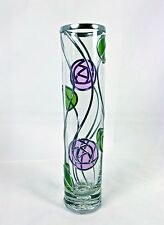 Charles Rennie Mackintosh Inspired Rose & Leaf Design On A Glass Cylinder Vase