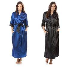 Summer Lace Patchwork Satin Women Kimono Robe Long Silk Satin Ladies Nightgown