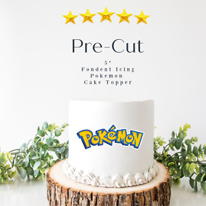 "PRE CUT 5"" Pokemon Edible Icing Logo Blue Cake Topper Decorations Birthday"