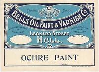 Vintage Bell's Oil Paint & Varnish Ochre Paint Label -Hull